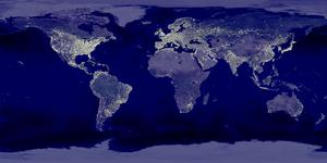 Click to see large version of composite of the earth from space at night